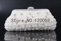 Imitation pearl rhinestone women clutch bag lace flower beaded diamond evening bag wedding bridal handbag with (two chain) bag