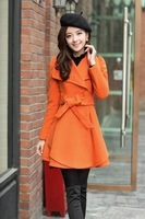 Trench female 2014 autumn and winter woolen outerwear overcoat woolen sweet women's