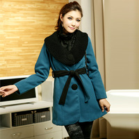Women's 2014 autumn and winter long design wool coat woolen outerwear female