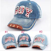 Fashion 2014 Children BOY Letter Jean Baseball Caps&Hats Kids Sun-Shading Hat Girls Boys Denim Hat Baby Sport Cap Free Shipping