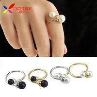 2014 new arrival hot fashion elegant 4colors Designer Double faux Pearl finger rings jewelry for women bagues ensemble bijoux