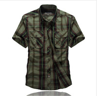 Hot-sale! New Arrival 2014 Summer New Outdoor Leisure 100% Cotton Short-sleeved Solid Shirt Plaid Shirt 8511, Free Shipping!