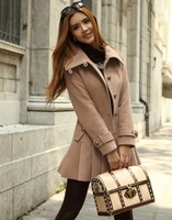 Spring 2014 women's slim medium-long woolen outerwear woolen overcoat female
