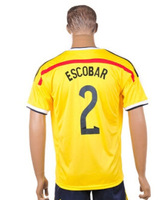 Wholesale Cheap Colombia Men Home Away #2 Escobar Soccer Jersey 2014 Brazil World Cup Football Jersey High Quality