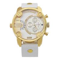 2014 new arrival hot selling DZ 7273 men's watch Famous luxury brand DZ, Leather strap Men Quartz watches,Gold Large Dial Watch