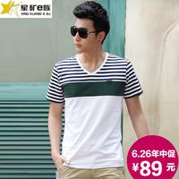 Male t-shirt V collar stripe 2014 summer short-sleeve male plus size cotton slim 100% T-shirt male short-sleeve