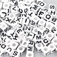 1000pcs 8x8mm White Base With  Alphabet Pony Beads Letter Beads/Acrylic Cube Shape Beads For Loom Band Bracelet
