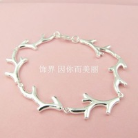New fashion antlers chain plum branch chain 925 silver bracelet