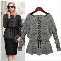 Women Slim stretch sweater 2014 NEW European fashion batwing sleeve Belt sweater Long section of thick O-Neck sweater skirt