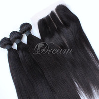 Three Part Lace Closure Malaysian Human Hair Weft Straight ( 4*4 ) Top Lace Closure Grade 8a Unprocessed  Human Hair Extensions