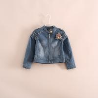 hot sale wholesale little girl flower denim jackets coats 2-8 years
