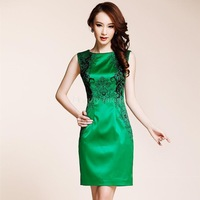 Free Shipping 2014 Brief Dinner Dress Vest Slim Embroidered Sleeve Summer Dress Party Evening Elegant