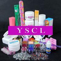 2014 New Acrylic Powder Liquid nail kit Glitter Brush French Clear tips Buffer Sticker File UV Gel Nail Kit as seen on tv 024
