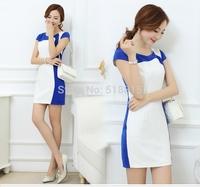 2014 New Summer Women Ladies Clothing Patchwork Dresses Short Sleeve Dress Vestidos, S, M, L, XL,XXL(TFC015)