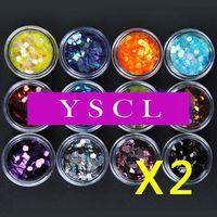 New 2 sets of 12 Big Hexagon Glitter Nail Art Deco Kit Acrylic UV Powder Dust Polish Deco nail gel nail art equipment 059