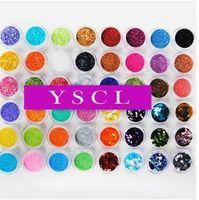Free shipping 48 Color Metal Big Hexagon Strip Glitter Nail Art Powder Dust Polish Gem nail art equipment personal care 057