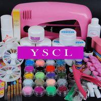 New Pro 9W UV pink dryer lamp for gel 24 colored Acrylic Powder acrylic liquid top coat brush cutter Nail Art tools Kit Set 020