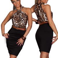 2014 New Fashion Women Sexy Leopard Dress Print Pattern  Halter Casual Stretch Bodycon Mini Dress With Belt Hollow Back
