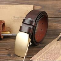 Original brand First Layer Of Cowhide Belt  Men Vintage Belt Handmade Italy import  Genuine Leather Belts