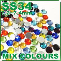 SUPER SHINY MIX COLOURS SS34 7mm 144Pcs/Pack FlatBack Crystal Rhinestones (Non Hotfix) Glitters Glue-on loose stones