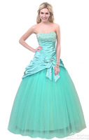 2014 FairOnly New In Stock Strapless Beading Bow Sequined Women Prom Ball Gown Formal Evening Party Dress