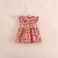 promotion!hot sale brand baby girl 100% cotton floral tea dress red green