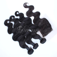 ( 4*4 ) Free Part  Top Lace Closure Malaysian Human Hair Weft Grade 8a Body Wave Natural Color Unprocessed Human Hair Extensions