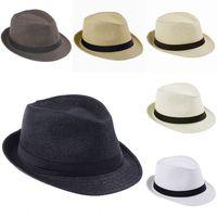 Fashion Unisex Trilby Gangster Straw Hat Summer Beach Hats Panama Sun Cap  A Hat For Men Women