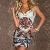 2014 beach dress for summer print vintage party evenning mini dress leopard dress for women sexy club dress