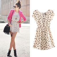 Free Shipping 2014 Bargain HOT SALE Women Spring Summer New Fashion Animal Bird Print Vintage Mini Dress