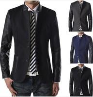 Plus Size ! Retail 2014 New Fashion Mandarin Collar Leather & Cotton Patchwork Slim Mens Jackets M L XL XXL 8638-90