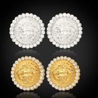New Vintage Lion Head Myth Medusa Stud Earrings 18K Gold Platinum Plated Austrian Rhinestone Fashion Jewelry Wholesale MGC E702