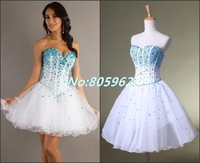 Sexy 2014 Ball Gown Sweetheart With beaded Blue Crystal Strapless Knee Length Mini Homecoming Dresses Tulle dress to party HD18
