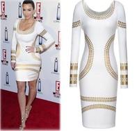 S-XXL 2014 New Fashion Women  Clothing Sexy Pencil Dresses Celebrity Print Gold Geometric Patterns Slim Bodycon Dress Vestidos,