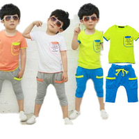 2014 New Boys Suits letters sleeve pocket stitching summer models cotton leisure suit children' clothing girls baby kids set