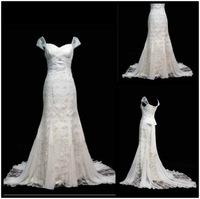 Fashionable New Design Mermaid Lace & Chiffon Wedding Dress Cap-Sleeves Sweetheart Neckline Bridal Gown