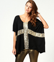 2014 new European style fashion casual loose cross pattern sequined T-shirt casual shirtwomen t-shirt XL