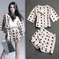NEW 2014 Autumn fashion women's high quality dots print top and shorts casual suits