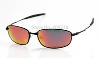 2014 New Brand Name Metal Sunglass Men's/Women's Fashion Whisker Black Sunglass Fire Iridium Lens Red Logo Polarized Case Box