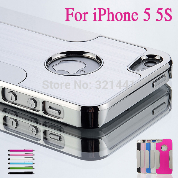 Luxury Brushed Aluminum Chrome Hard Protective Cover Case For iPhone 5 5G 5S + Stylus Pen + Screen Protector Film 6 Color 2014(China (Mainland))