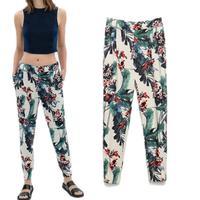 Women Pants Special Offer Skinny Mid Woeen Pencil Leggings Beam Retro Flower Print Casual Trousers Pants Women 2014 New Wear