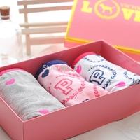 3 pcs/lot Pink panties women's 100% cotton love wheat ear letter logo print briefs fashion preppy style female underwear