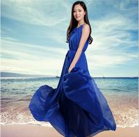 2014 bohemia spaghetti strap chiffon jumpsuit full dress summer ultra long expansion bottom loose one-piece dress