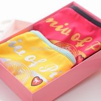 2 pcs/lot Vs panties pink women's 100% cotton bronzier letter of love badge pattern briefs fashion preppy style female underwear