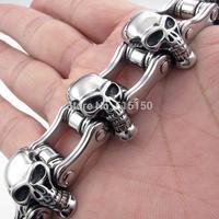 New Arrival Bracelet Men's Bracelet Mens Stainless Steel Harley Primary Chain 23mm Skull Motorcycle Biker Bracelet