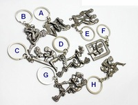 8Pcs Newly Moveable Mens-Womens Shinning Make Love Alloy Key Chain Sex Key Ring Individuality Car Keychain, Free Shipping