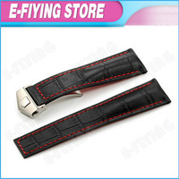 Black Alligator Pattern Genuine Leather Watch Band Strap W/ Stainless Steel Deployment Clasp for TAG Monaco 22mm Watch Bracelet