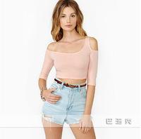 2014 new summer oblique sexy strapless short paragraph Slim T-shirt T-shirt casual shirtwomen t-shirt XL