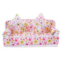 Mini  Dollhouse Furniture Flower Sofa Couch +2 Cushions Doll House Toys #57691(China (Mainland))