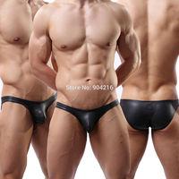 Fashion Sexy Lingerie Men's Underwear Bodysuit Faux Stretchy Leather Black Briefs Pants Nightwear